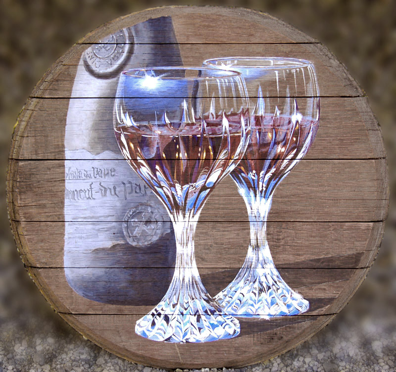 Okanagan wine art, wine glasses painted on wine barrel head