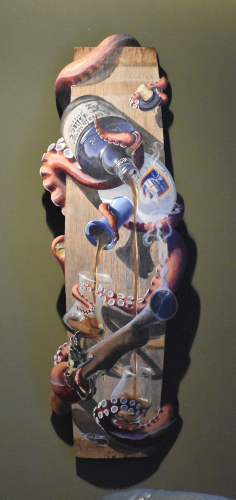 Why the rum is gone, painting of an octopus pouring rum