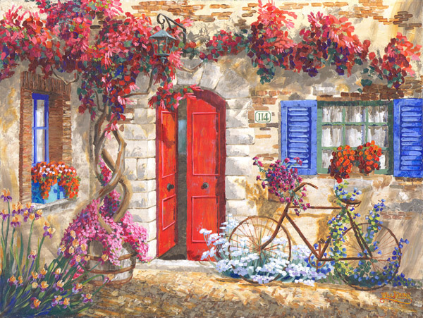 Trumpet vine, Irises, petunias, amarylis, bougainvilla, daisies, fuschia, gailardia, hibiscus, honeysuckle, hydrangia, labilia, morning glory, seedum, with a rusty bicycle and copper lamp make this idylic Italian scene leap from the page.