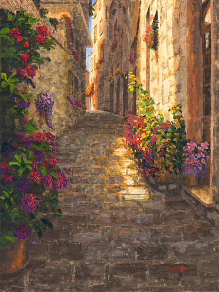 Alley in Corniglia, stunning acrylics by Pallet knife artist Will Enns