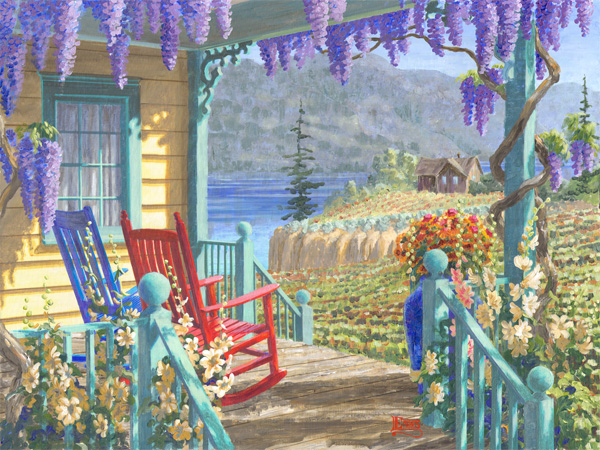 Okanagan, porch, vine, vineyard, old house, shack, rocking, chair, pot, clay, cliffs, wine, wisteria, hollyhocks, daisies, flowers, british columbia, wooden railing, bannisters, balustrade, benchland, naramata bench